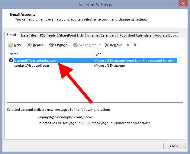 Double click on your primary e-mail address to go into the settings