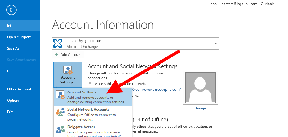 File, Account Settings, Account Settings