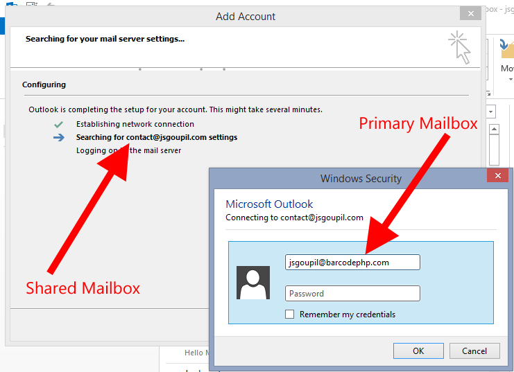 Adding manually the shared mailbox with primary e-mail address credentials